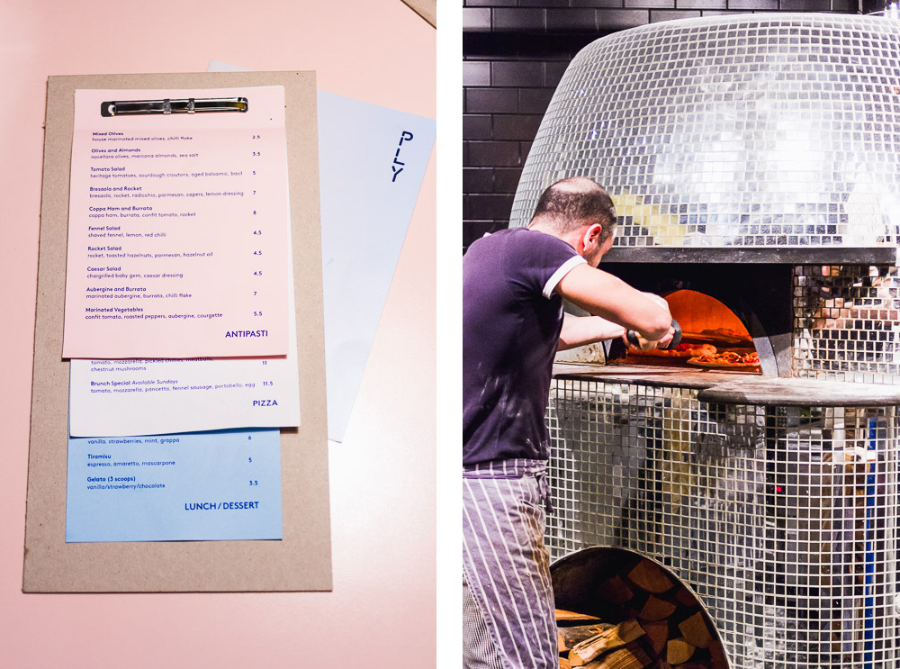 PLY pizza restaurant manchester disco ball pizza oven