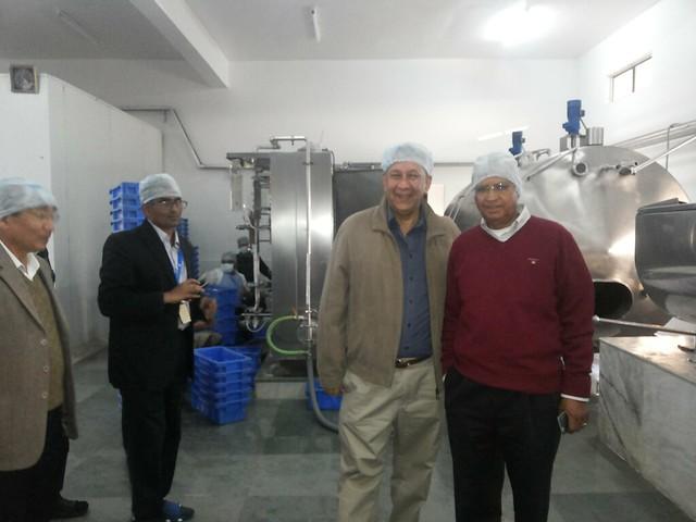 7.11th Feb_S. Ramadorai, Ranjit Barthakur and R. Shrinivashan at the YVU Milk Processing Plant, Thaubal, supported by Tata Trusts