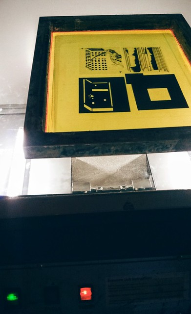 Exposing screen in print workshop