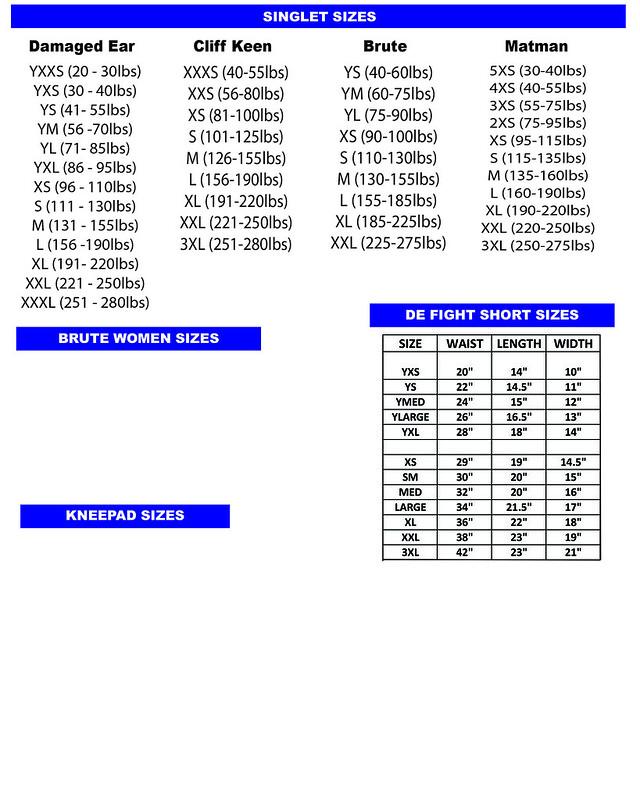 web sizing chart