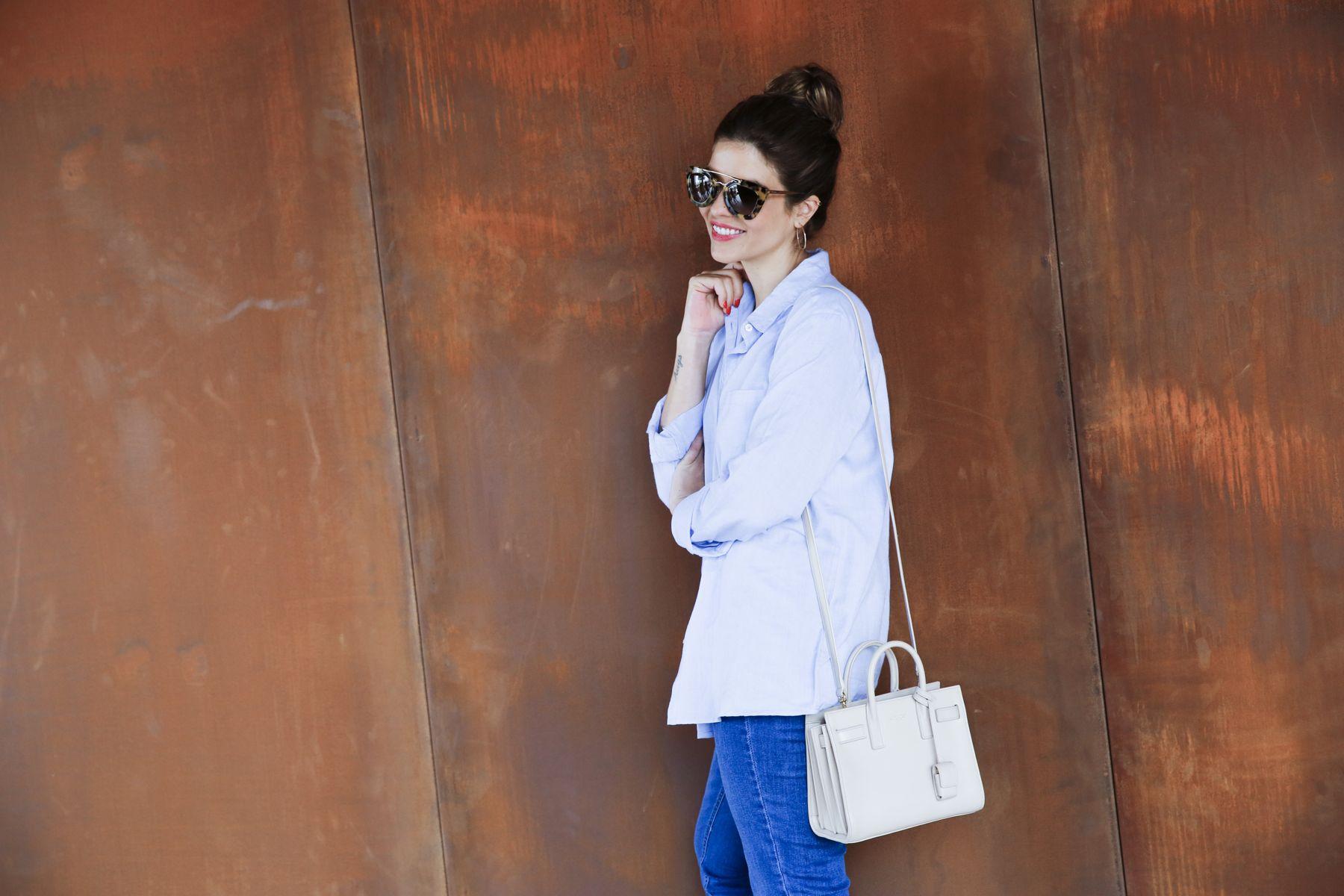 outfit look primavera spring camisa oxford zara calzedonia Yves saint laurent bolso bag prada sunglasses verona street style trendy taste_21
