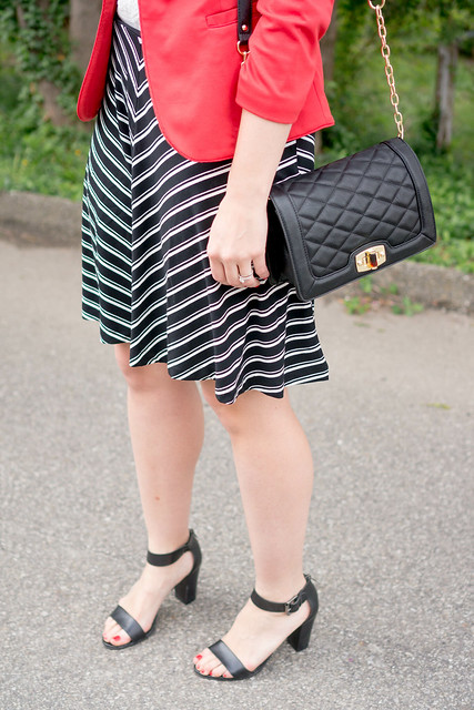 stripe Loft chevron skirt + red blazer + key necklace + black quilted crossbody purse | Style On Target