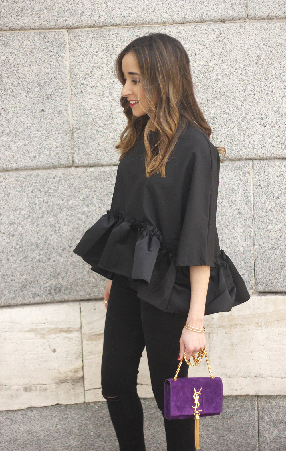 black top with a ruffle Carolina Herrera Sandals YSL bag accessories outfit style20