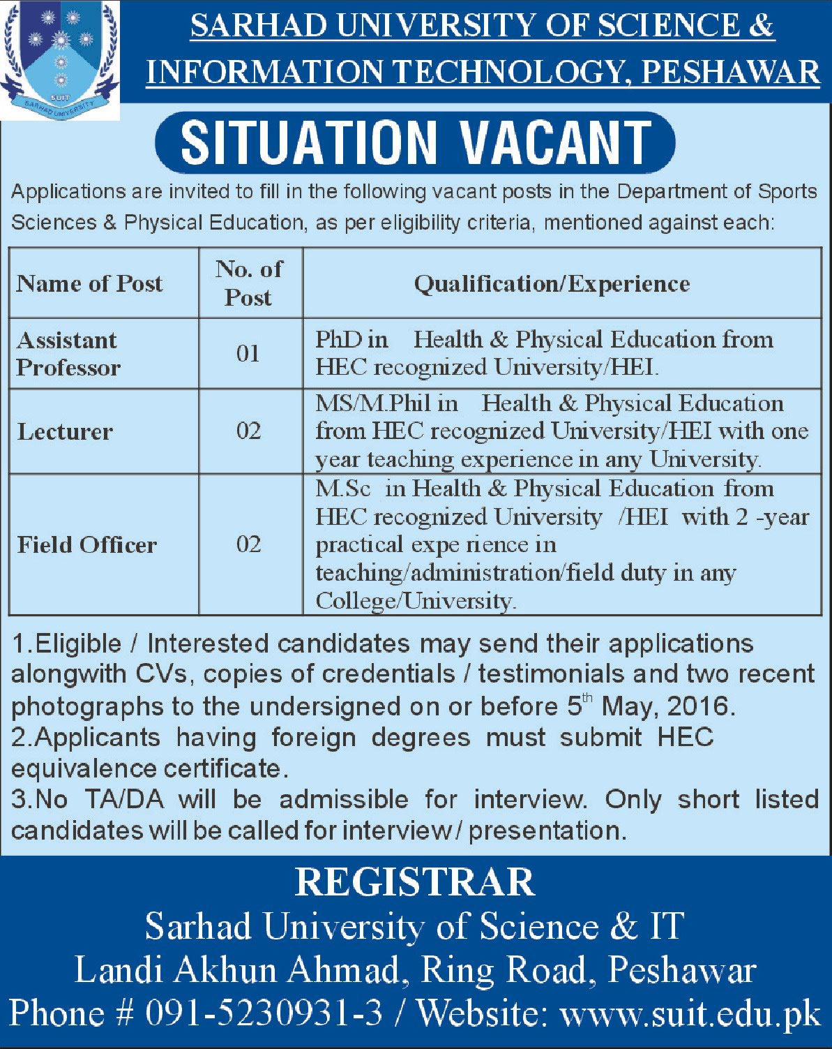 Sarhad University of Science and Technology Peshawar Jobs 2016