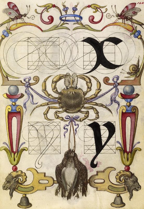 009- Fol 148- Guia para la construcción de las letras X e Y- Mira Calligrafhiae monumenta- Joris Hoefnagel- Getty Museum.
