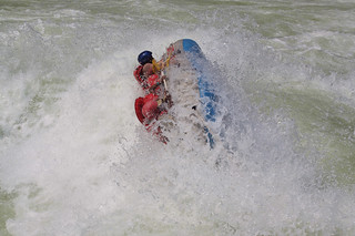 One of the other rafts going over, White Water Rafting the Zambezi