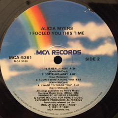 ALICIA MYERS:I FOOLED YOU THIS TIME(LABEL SIDE-B)