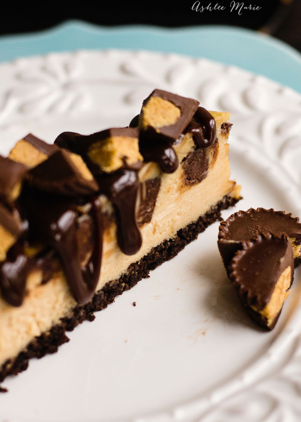 this peanut butter flavored cheesecake with a chocolate crust is amazing, adding chunks of peanut butter cups and top with hot fudge and you have an amazing rich dessert
