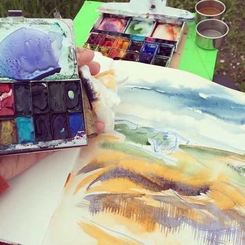 Painting quickly before #storm gets here #watercolorpainting #sketchbook #watercolor #pleinair