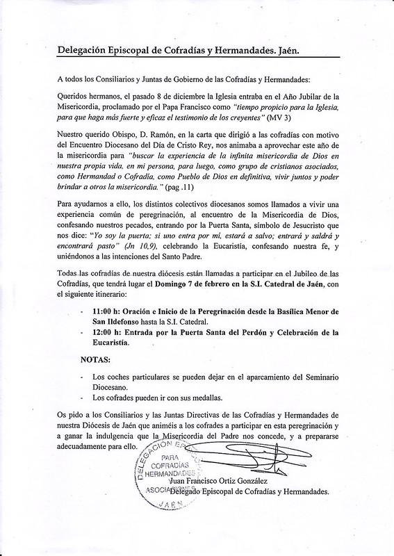 Carta Jubileo 2016
