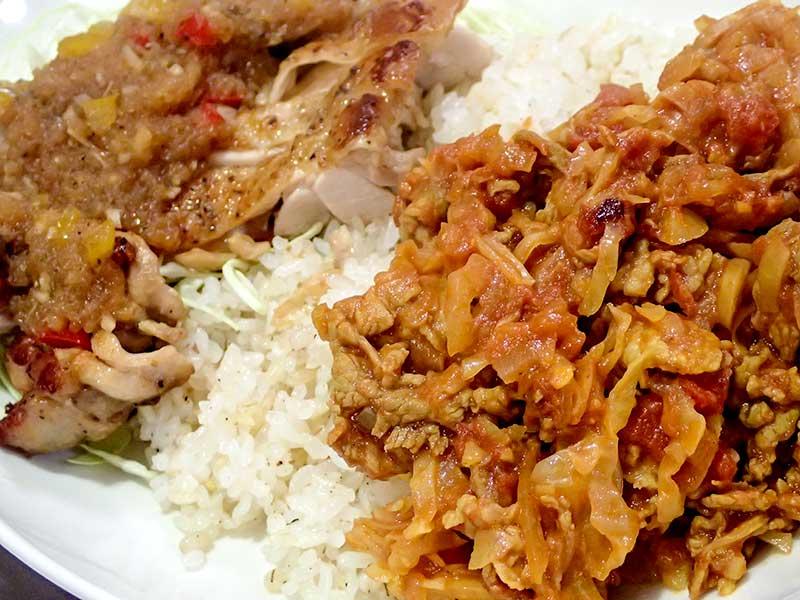 豚キャベツカレーと鶏肉のソテー