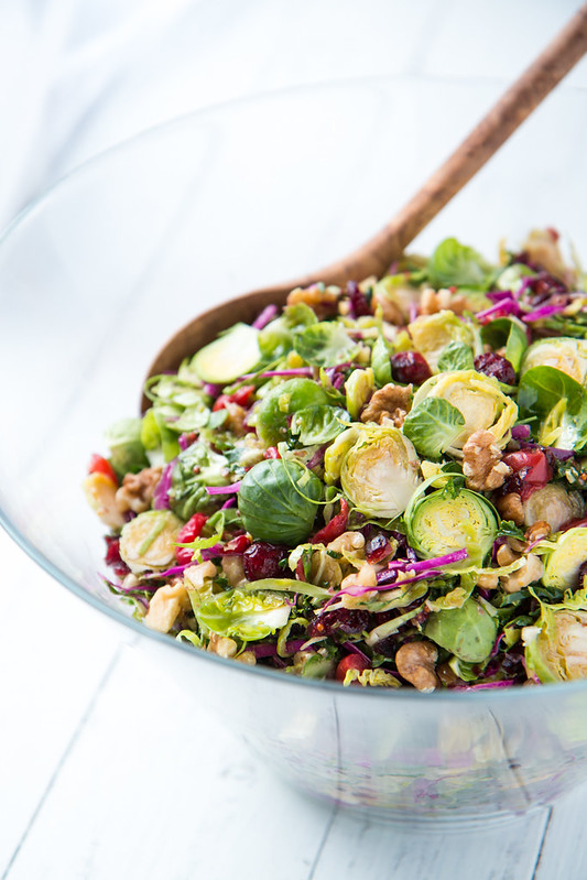Brussels Sprout Slaw with Cherries and Walnuts | Will Cook For Friends