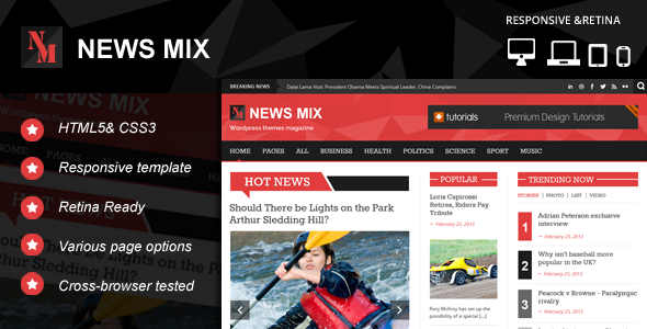 Themeforest News Mix Responsive HTML 5 Website Template