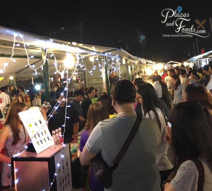 bangkok neon fest stalls crowded
