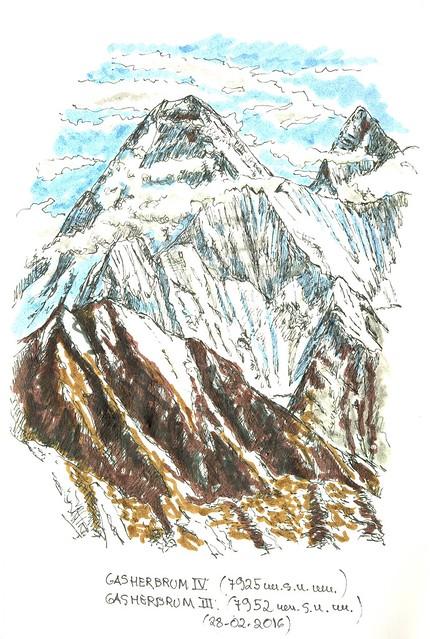 Gasherbrum IV (7.925 m.s.n.m.) y Gasherbrum III (7.952 m.s.n.m.)