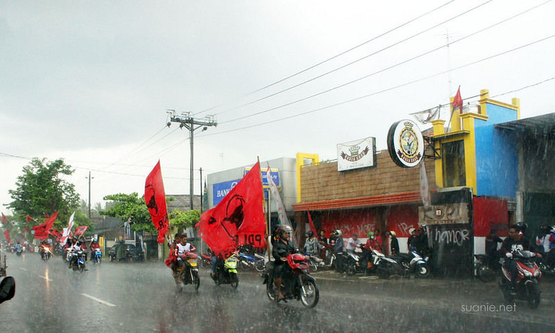 Yogyakarta, Indonesia - election bikers in rain