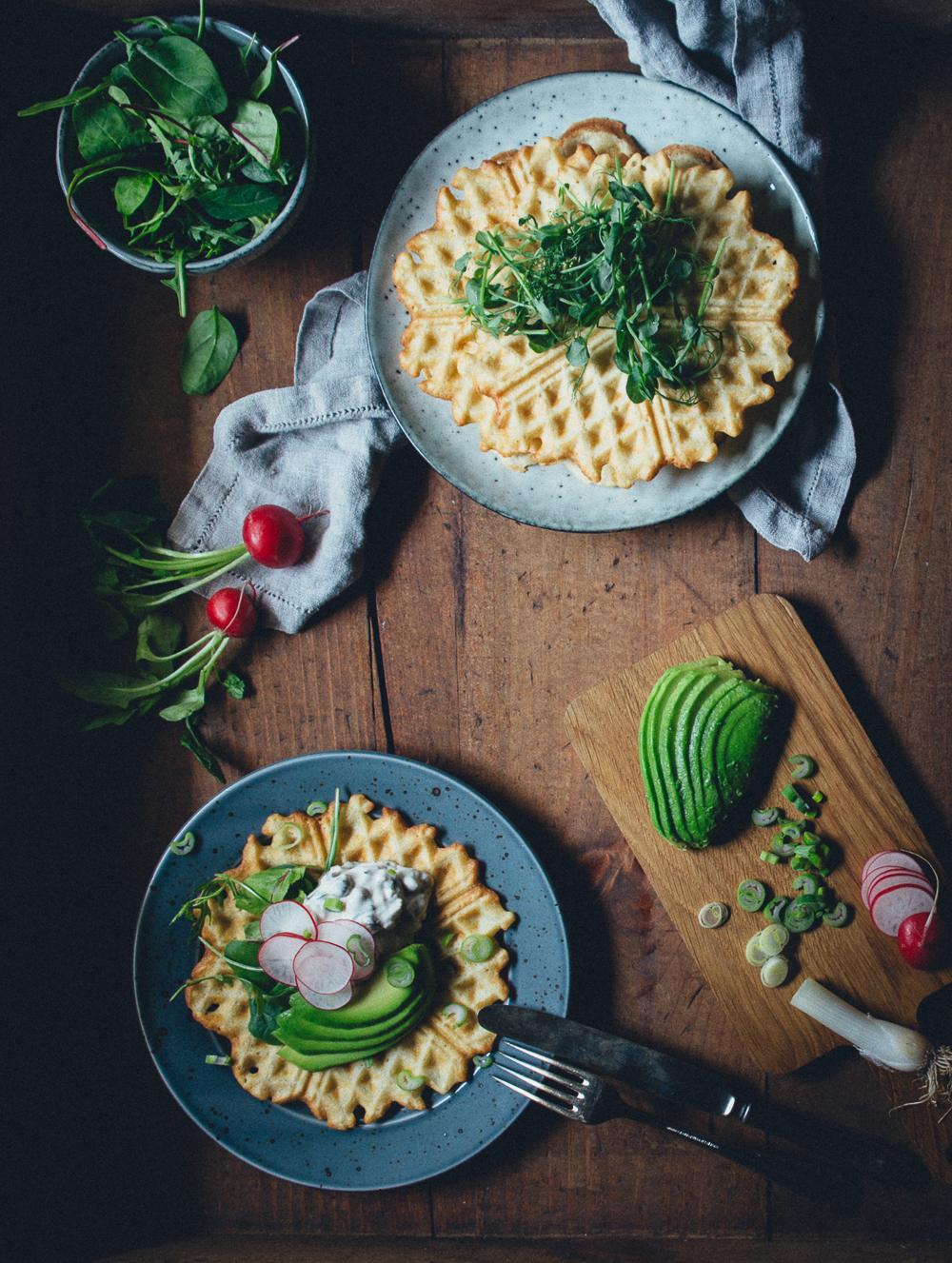 Vegan Swedish Gubbröra on Savory Waffles | Cashew Kitchen