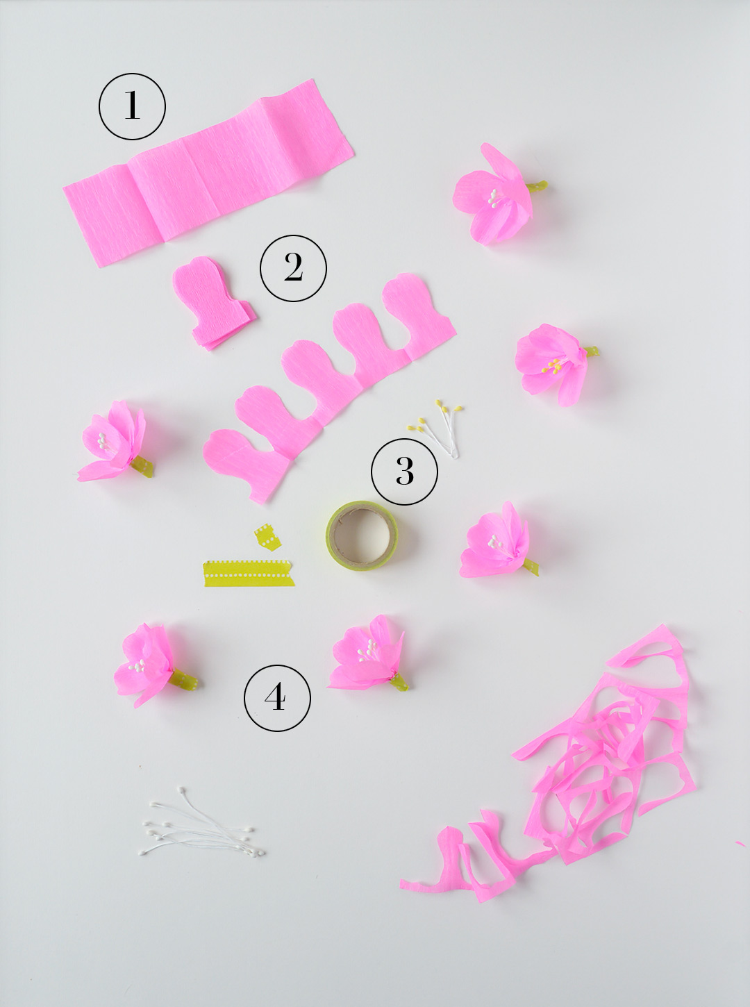 Super easy crepe paper cherry blossoms kootut murut easy diy cherry blossom instructions mightylinksfo