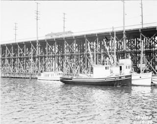 Fishing boats near Ballard Bridge, 1936