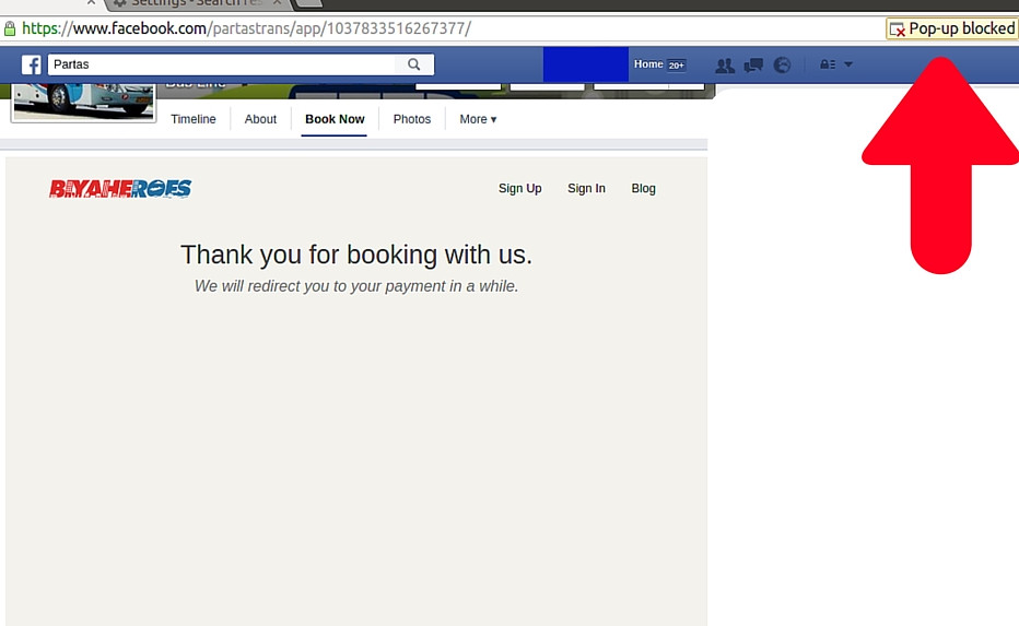 Facebook Pop-Up Instructions - Online Bus Booking