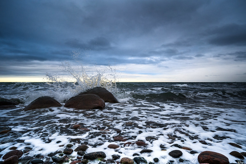 Spray at the Baltic Sea coast