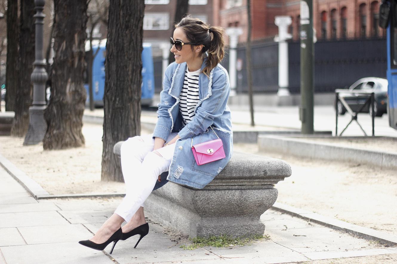 Stripes and Denim Coat Gloria Ortiz Heels Accessories Sunnies Outfit15