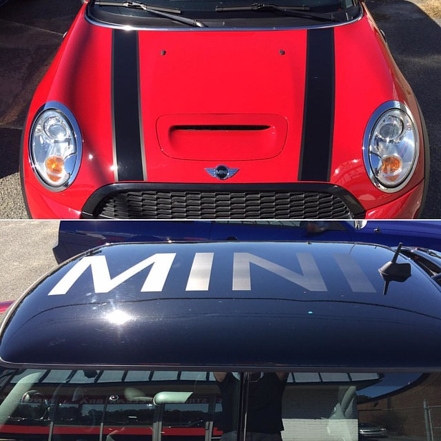 Custom Stripes and MINI roof decal in Matte Black #minicooper #customstripes #customdecals #minicooperstripes #bonnetstripes #decals