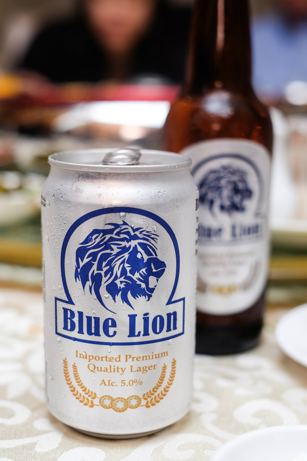 Blue Lion Beer Can and Bottle