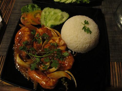Crevettes aigre-doux au poivre vert de Kampot