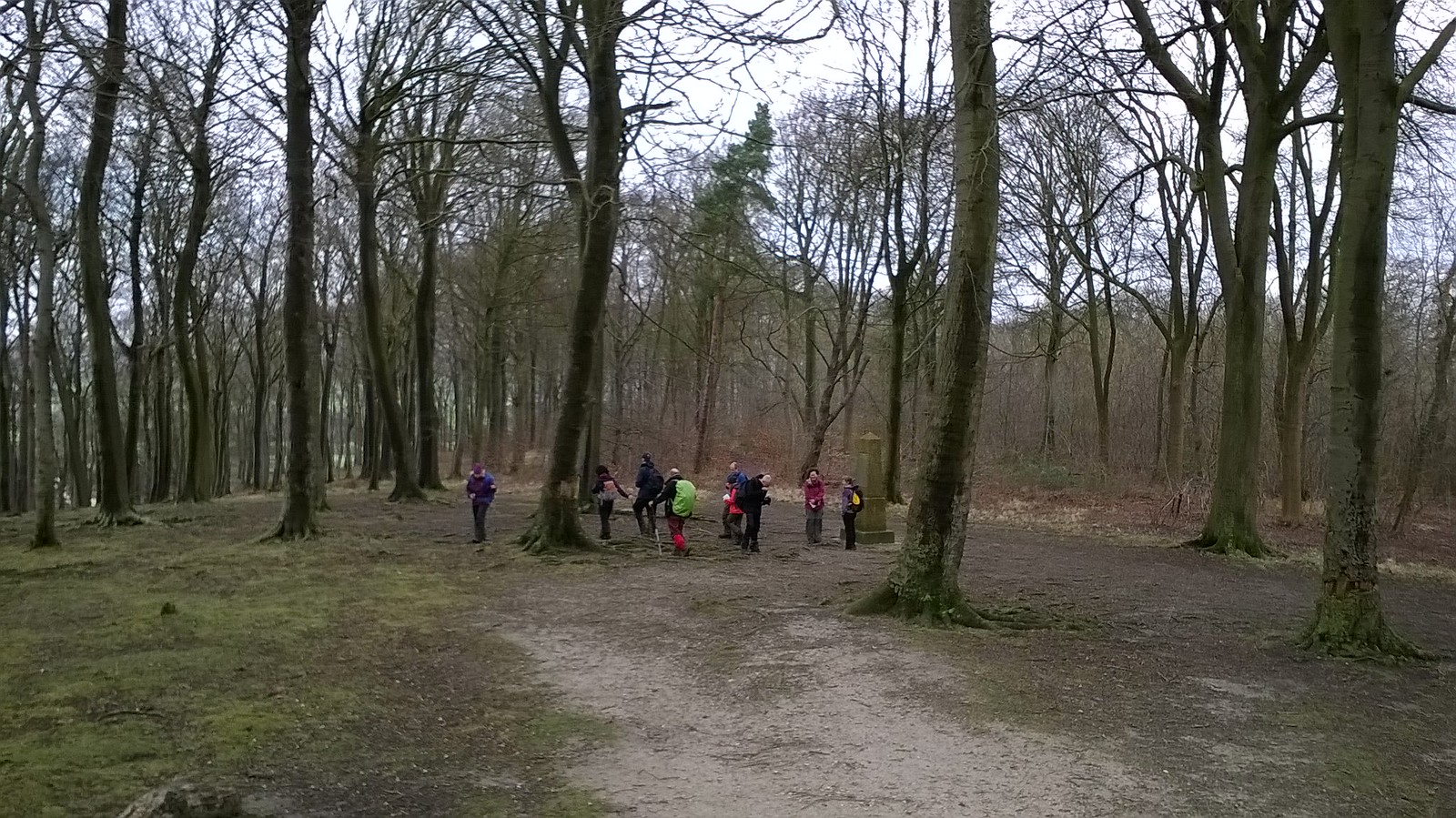 Walkers congregate at the Summit of Sharpenhoe Hill Fort