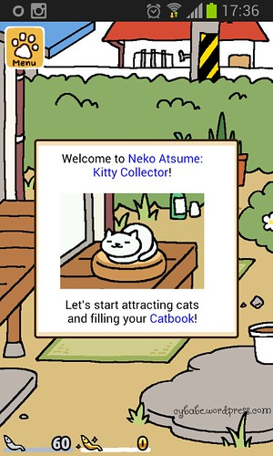 neko atsume Welcome Screen Screenshot