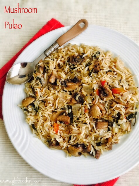 Mushroom Pulao Recipe for Toddlers and Kids4