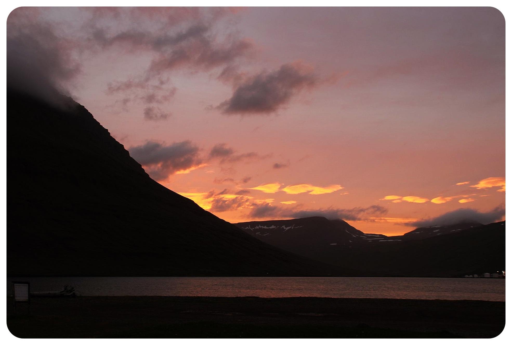fjord sunset iceland
