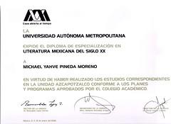 Diploma de Especialización en Literatura Mexicana del S. XX