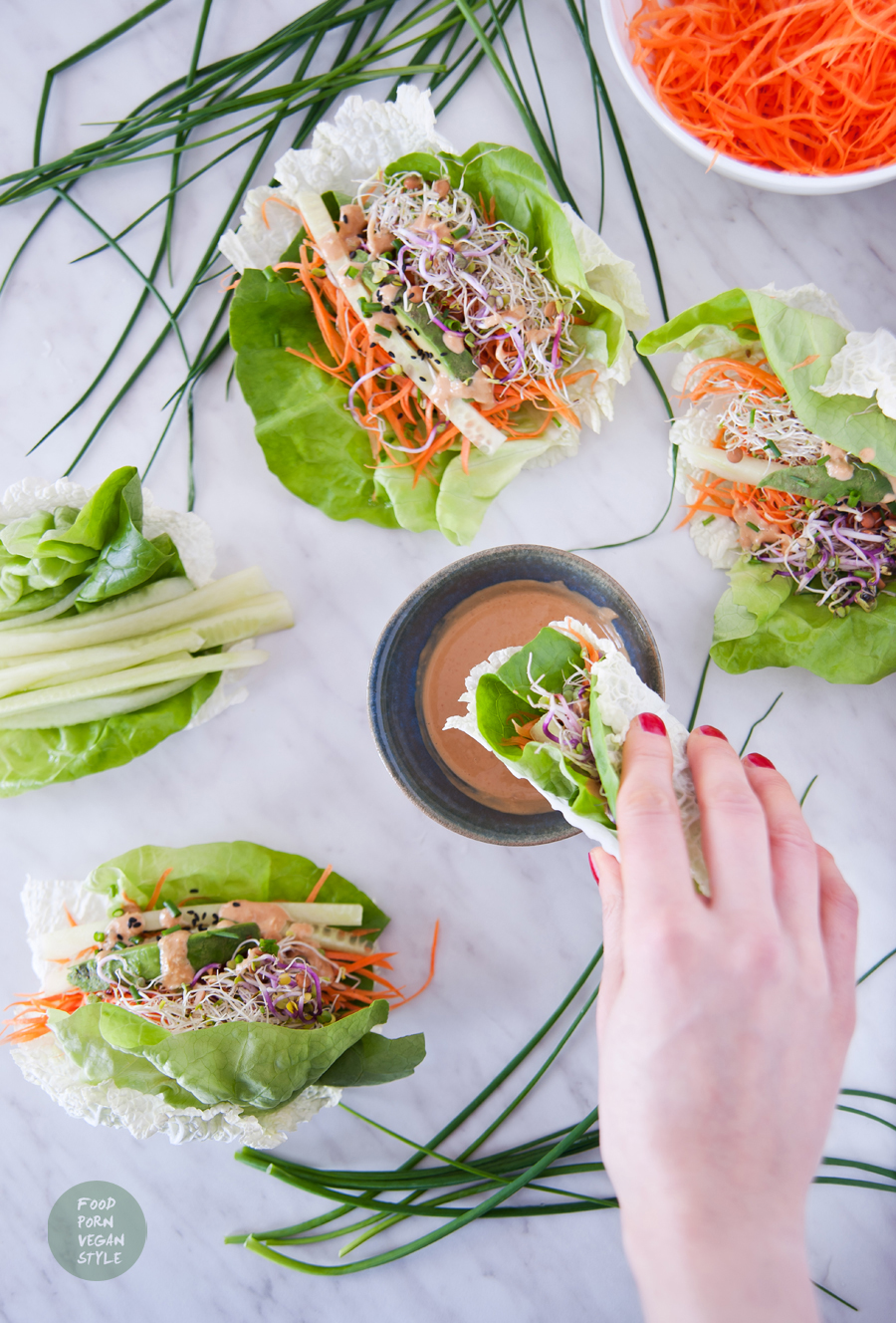 "Vegan nappa cabbage spring rolls with carrot ""noodles"" and simple peanut sauce"