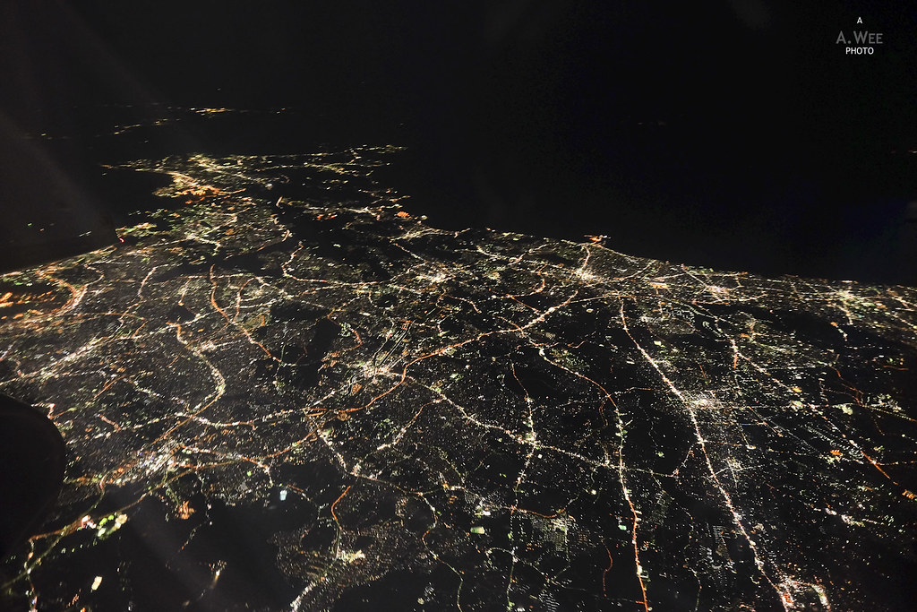 Tokyo from the air at night