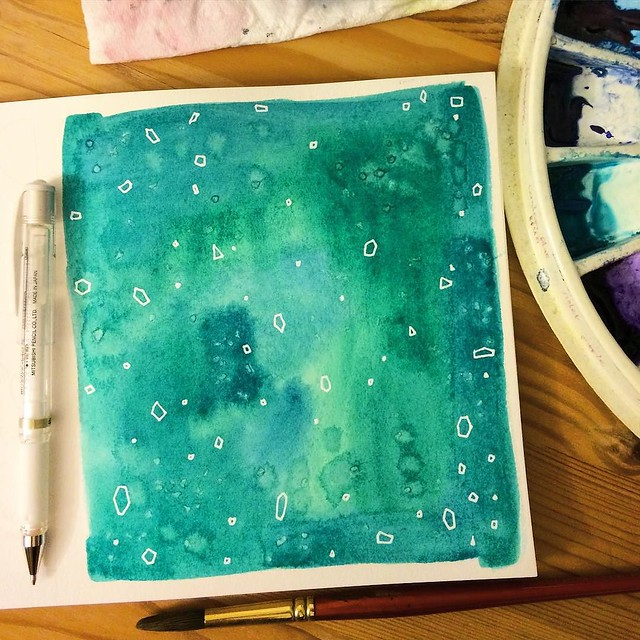 The final #patternswithanika - #Emerald. I used #watercolor, and salt, with subtle effects because I'd let it dry too much before applying it, and I finally got a #uniballsigno
