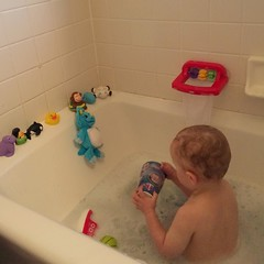 He gave himself an audience in the bathtub. That's our little creeper.