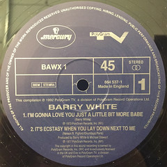 BARRY WHITE:I'M GONNA LOVE YOU JUST A LITTLE BIT MORE BABE(LABEL SIDE-A)
