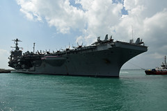 USS John C. Stennis (CVN 74) arrives at Changi Naval Base, April 19. (U.S. Navy/MC3 Joshua Fulton)