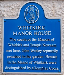 Photo of Manor House, Whitkirk and John Wesley blue plaque