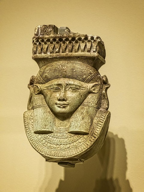 Head of the goddess Hathor from the handle of a votive sistrum Egypt Late Period 26th Dynasty 664-525 BCE Faience