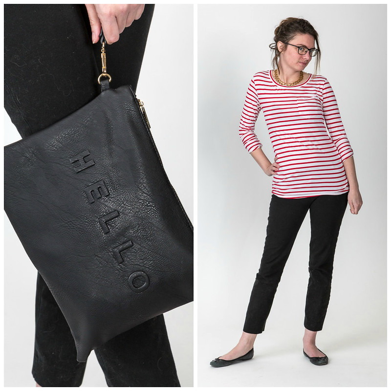 red stripes, le breton, popbasic, clutch, hello, black pants,
