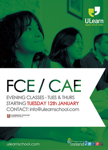 ULearn FCE & CAE 12 Week Evening Courses Tuesday & Thursday: 7 - 9pm FCE: €389 CAE: €346 ulearnschool.com http://ift.tt/1oTUfPU http://youtube.com/user/ULearnDublin http://ift.tt/1rJ0btv