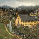 Fog and stone ramparts along the River Alzette -- Luxembourg City. A sort of place that looks as though it were quarried right out of the valley in which it sits. From huge, loping bridges and viaducts to a tiny mysterious chapel tucked into stone, the to
