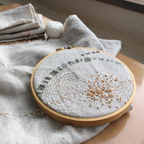 Day 13: white seed stitch, for the new snow