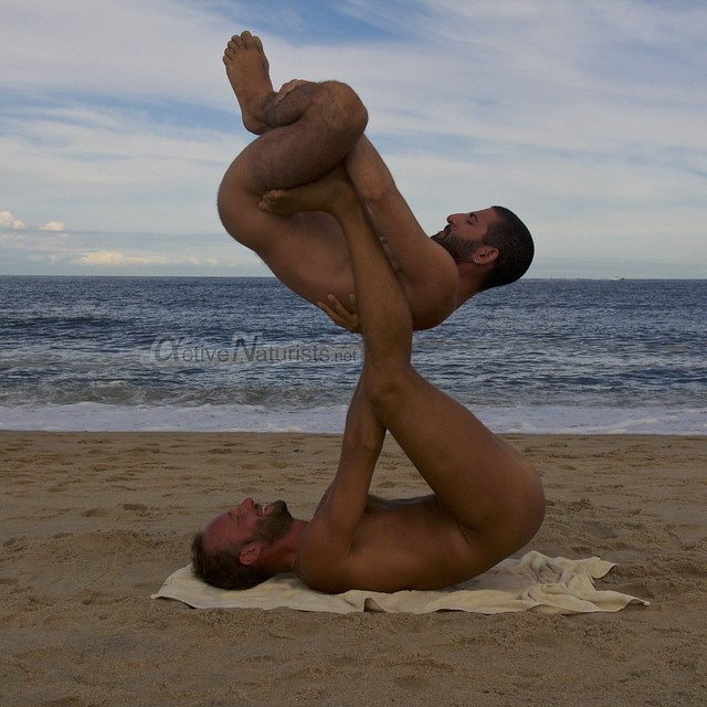 naturist acro-yoga 0014 Gunnison Beach, Sandy Hook, NJ, USA