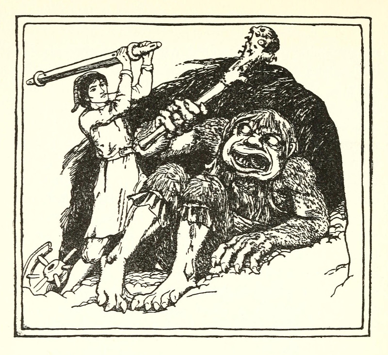 "John D Batten - Tom Hickathrift, illustration from ""More English Fairy Tales,"" 1894"