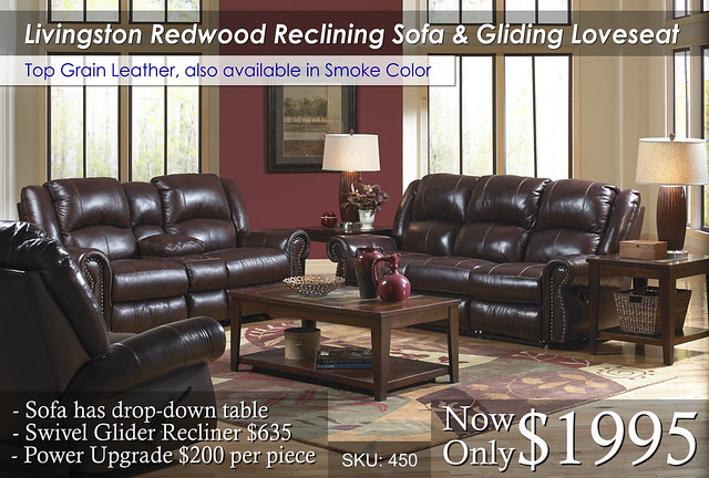 Livingston Redwood Reclining Living Set