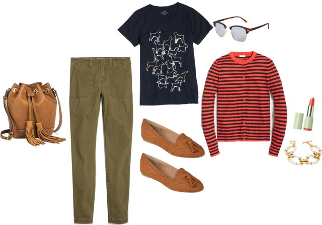 What I Wish I Wore: Who Let the Dogs Out; J.Crew Factory stripe cardigan; dog print tee; cognac leather bucket bag purse